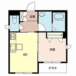 南海高野線 浅香山駅 徒歩7分の賃貸マンション 2階1DKの間取り