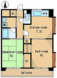 野ヶ谷東マンション 2階2DKの間取り