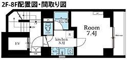 LALA上野 2階1Kの間取り