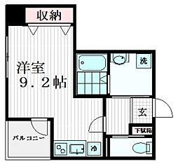 グランディール江戸川橋 4階ワンルームの間取り