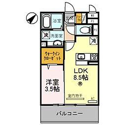 南海線 紀ノ川駅 徒歩20分の賃貸アパート 2階1LDKの間取り