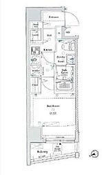 東急池上線 大崎広小路駅 徒歩4分の賃貸マンション 8階1Kの間取り