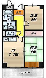 大阪府大阪市鶴見区諸口4丁目の賃貸マンションの間取り