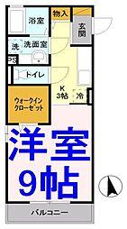 栃木県小山市東城南1丁目の賃貸アパートの間取り