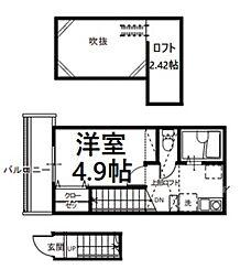 JR埼京線 与野本町駅 徒歩15分の賃貸アパート 2階1Kの間取り