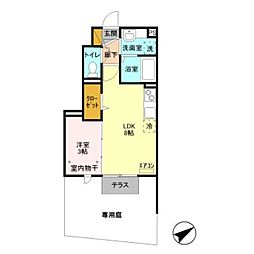 JR総武線 東船橋駅 徒歩12分の賃貸アパート 1階1LDKの間取り