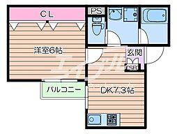 阪急千里線 豊津駅 徒歩4分の賃貸アパート 1階1DKの間取り