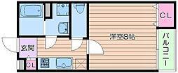 阪急千里線 豊津駅 徒歩12分の賃貸マンション 3階1Kの間取り