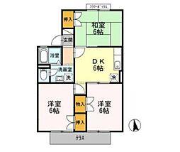 愛知県みよし市東山台の賃貸アパートの間取り