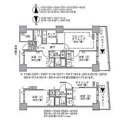 JR山手線 浜松町駅 徒歩3分の賃貸マンション 28階2LDKの間取り