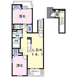 つくばエクスプレス 柏たなか駅 徒歩17分の賃貸アパート 2階2LDKの間取り