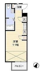 秋桜館 3階ワンルームの間取り