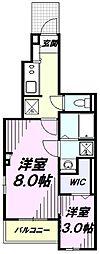 多摩都市モノレール 砂川七番駅 徒歩10分の賃貸アパート 1階1Kの間取り
