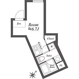 ルクレ神宮前 3階ワンルームの間取り
