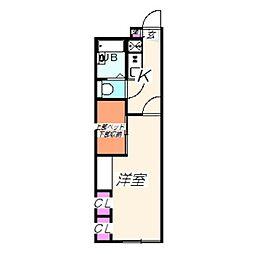 レオパレスcross wing 1階1Kの間取り