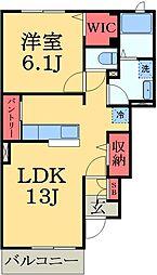 JR外房線 大網駅 徒歩10分の賃貸アパート 1階1LDKの間取り
