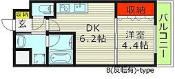 プレジオ都島 2階1DKの間取り