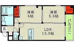 アメニティ鶴見 2階2LDKの間取り