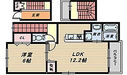 大阪府堺市中区毛穴町の賃貸アパートの間取り