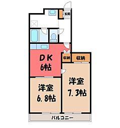 栃木県宇都宮市伝馬町の賃貸マンションの間取り