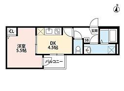 JR埼京線 与野本町駅 徒歩13分の賃貸アパート 3階1DKの間取り