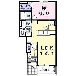 愛知県豊橋市神野新田町字ホノ割の賃貸アパートの間取り