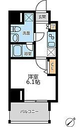 JR京浜東北・根岸線 横浜駅 徒歩8分の賃貸マンション 4階1Kの間取り