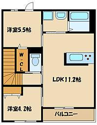 JR横浜線 橋本駅 バス19分 向原南下車 徒歩7分の賃貸マンション 2階2LDKの間取り