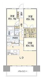 ザ・ガーデンズ東京王子ブルームコート 16階3LDKの間取り
