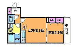 仮)D-room府中町1丁目 1階1LDKの間取り