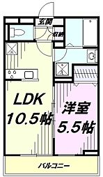 JR青梅線 牛浜駅 徒歩9分の賃貸アパート 2階1LDKの間取り