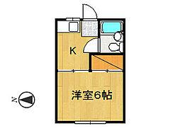 タカシタコーポB棟[102号室]の間取り