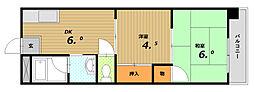 コーポサンルーツⅡ[4階]の間取り