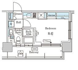 パークアクシス学芸大学レジデンス 8階ワンルームの間取り