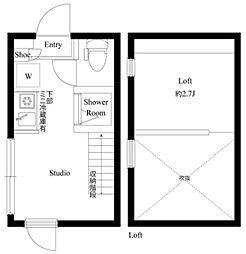 ハーモニーテラス成田東III 1階ワンルームの間取り