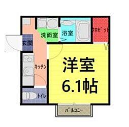 東武野田線 七里駅 徒歩6分の賃貸アパート 1階1Kの間取り