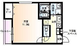 JR関西本線 東部市場前駅 徒歩7分の賃貸アパート 2階1Kの間取り