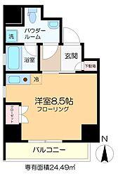 仮称)亀戸6丁目新築マンション 6階ワンルームの間取り
