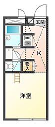 愛知県豊川市新桜町通2丁目の賃貸アパートの間取り