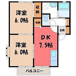 栃木県真岡市上大沼の賃貸アパートの間取り