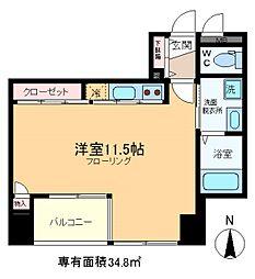 HIRAI RISE 10階ワンルームの間取り