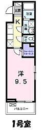 JR武蔵野線 吉川駅 徒歩10分の賃貸アパート 3階1Kの間取り