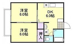 田金マンション B[2階]の間取り