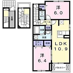 愛知県豊橋市二川町字西向山の賃貸アパートの間取り