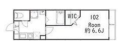 JR横須賀線 武蔵小杉駅 徒歩10分の賃貸アパート 1階1Kの間取り
