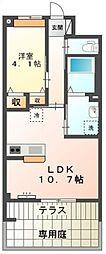 東武野田線 七里駅 徒歩9分の賃貸アパート 1階1LDKの間取り