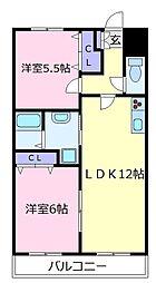 オープ松原[3階]の間取り