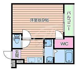 阪急千里線 豊津駅 徒歩9分の賃貸アパート 1階1Kの間取り