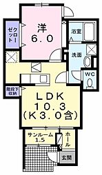 武蔵野ハイツ1 1階1LDKの間取り