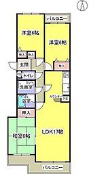 神奈川県横浜市青葉区たちばな台2丁目の賃貸マンションの間取り